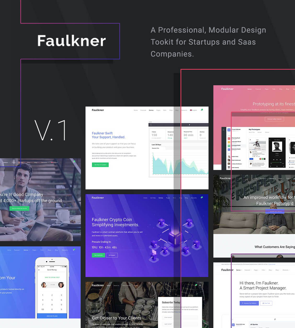 Faulkner - Responsive Multiuse WordPress Theme for Companies and Freelancers Free Download